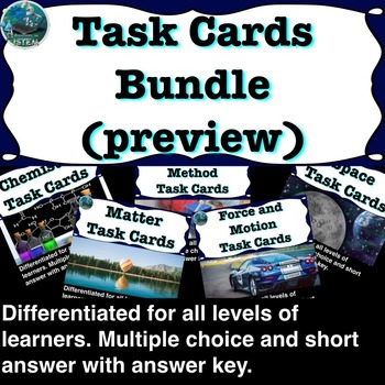 Science Task Cards: Matter, Chemistry, Motion, Force, Solar System, Stars
