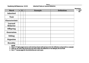 Science TEKS 5.10B Vocabulary Awareness Chart