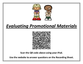 Science TEKS 5.3B (evaluating promotional ads) QR Code Student Activity