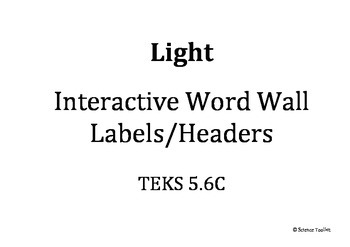 Science TEKS 5.6C Changing Light Interactive Word Wall Labels and Example