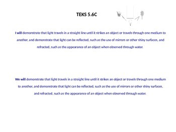 Science TEKS 5.6C Light ppt