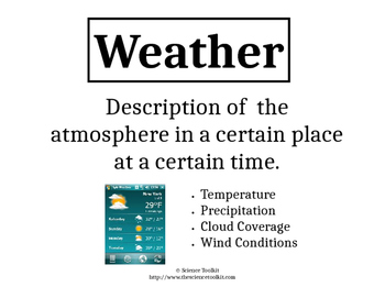 Science TEKS 5.8A Weather vs Climate Word Wall Labels