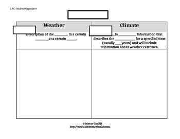 Science TEKS 5.8A Weather vs Climate student organizer