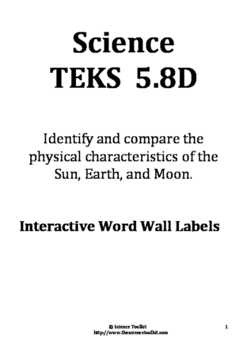Science TEKS 5.8D Interactive Word Wall Labels 2016