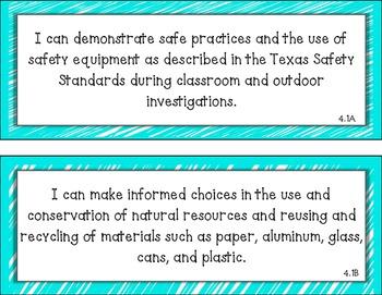 Science TEKS Cards (4th Grade)