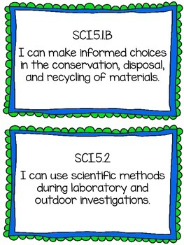 Science TEKS I Can Statements