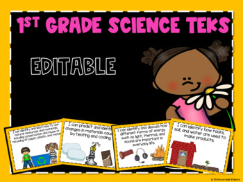 Science TEKS Posters for First Grade *EDITABLE*