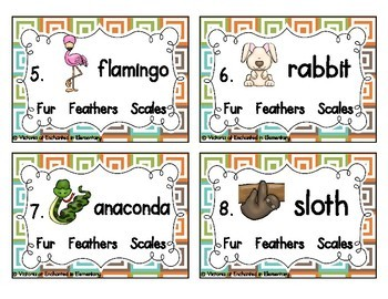 Science Task Cards: Fur, Feathers, Scales Set