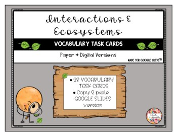 Science Task Cards - Interactions and Ecosystems - SCOOT o