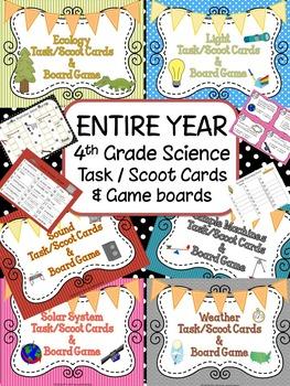 Science Task / Scoot Cards 4th Grade Bundle Ecology, Light, Sound, Weather...