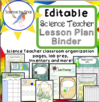 Science Teacher Lesson Planner Classroom Organizer Editable Binder Pages