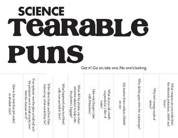Science Tearable Puns - New for Halloween!