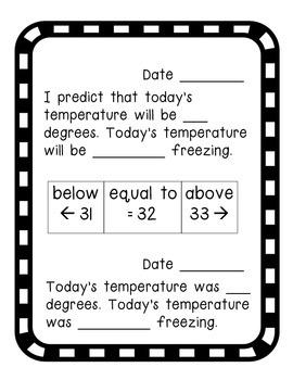 "Science Temperature Log- temperature, making predictions and defining ""freezing"""
