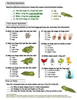 Science Test: Frog Life Cycle