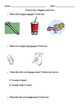 Science Test: Magnets and Force
