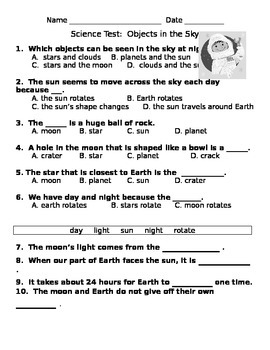 Science Test Objects in the Sky Space