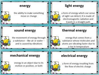 Science Test Prep Bingo Game (Energy, Light, Sound)