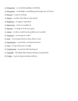 Science Test-Taking Vocabulary