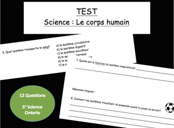 Science Test in French for Human Body Unit - Les organes du corps humain
