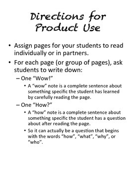 "Science Textbook Note Organizer - ""Wow"" and ""How"" Notes"