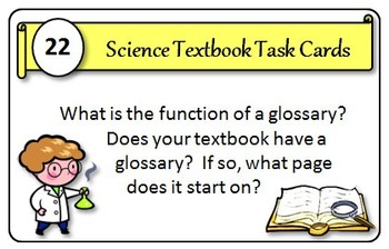 Science Textbook Task Cards - Great Course Opener! {With Editable Template}
