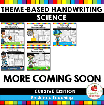 Science Theme Based Handwriting Lessons Growing Bundle (Cursive Edition)