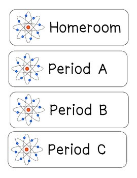Science Themed Class Period Labels (numbered and lettered)