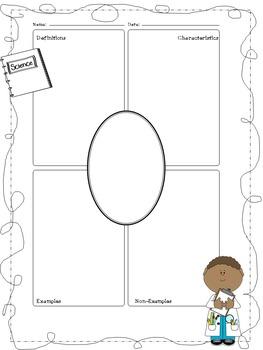 Science Themed Frayer Model Worksheets