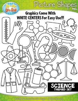 Science Themed Picture Shapes Clipart Set — Includes 20 Graphics!