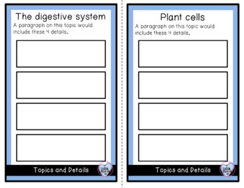 Science Themed Topic and Detail Cards