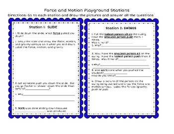 Force Motion Playground Stations