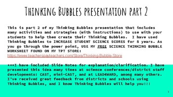 Science Thinking Bubbles Assessment Strategies, Part 2