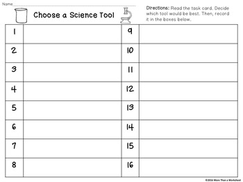 Science Tool Task Cards