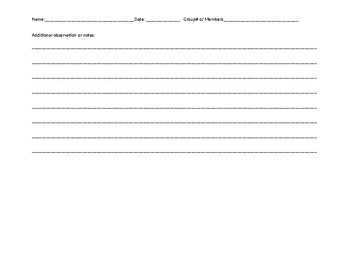 Science Tool and Measurement Recording Sheet