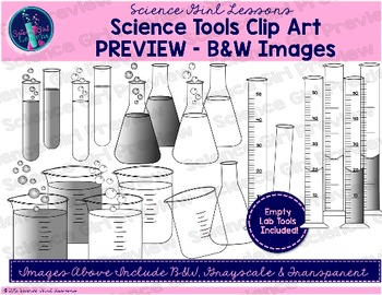 Science Tools Clip Art {Black & White Images}
