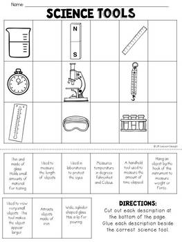 Science Tools: Cut and Paste Matching Activity
