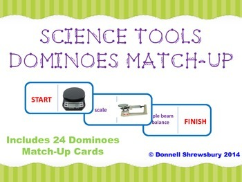 Science Tools Dominoes Match-Up Activity