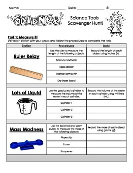 Science Tools - Hands-On Scavenger Hunt Centers / Stations & Test (Common Core)