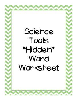"""Science Tools """"Hidden Word"""" Worksheet"""