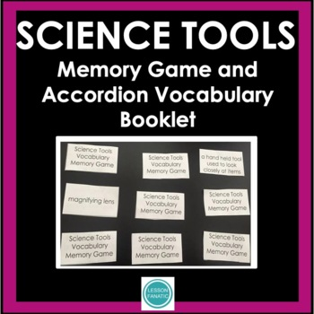 Science Tools Vocabulary Memory Game with Accordion Book Activity