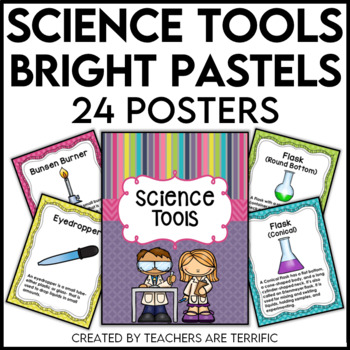 Science Tools Posters in Pastel Bright Colors