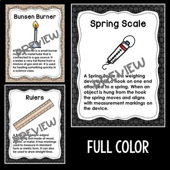 Science Tools Posters in Burlap and Chalkboard