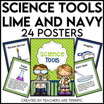 Science Tools Posters in Lime and Navy