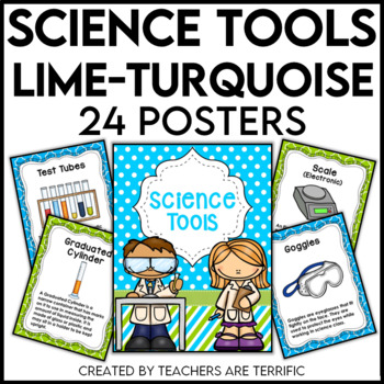 Science Tools Posters in Lime and Turquoise