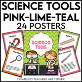 Science Tools Posters in Pink, Lime, and Teal