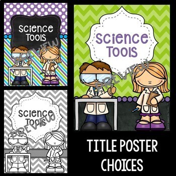 Science Tools Posters in Purple, Lime, and Bright Turquoise
