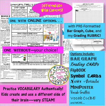 Science Safety-Tools & SI Units CHOICEs BOARD w/5 FREEBIES-Vocab CARDS & more!