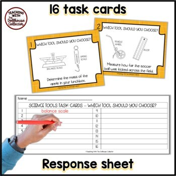 Science Tools Task Cards - Which Tool Should You Choose? 16 Cards + Key