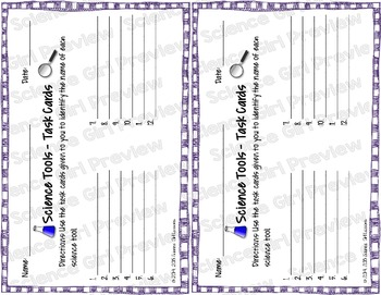 Science Tools Task Cards with QR Codes