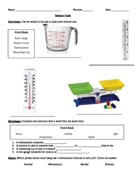 Science Tools - Thermometer, Rain Gauge, Measuring Cup, and Balance